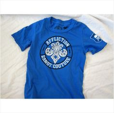 New Affliction Couture Toddler Kid's boy's UFC MMA Biker shirt blue 5T