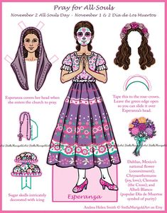 Helen Smith, All Souls Day, Rose Crown, All Saints Day, Day Of The Dead, Paper Dolls, Halloween, Catholic Holidays, Mexican Heritage