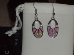 LOOK!!!! A STUNNING PAIR OF STERLING SILVER PINK FIRE OPAL AND AAAAA CZ DANGLE EARRINGS