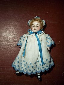 """Dear 3-1/2"""" German All Bisque, Glass Eyes, Doll House Size - Timeless Pieces Antiques #dollshopsunited"""