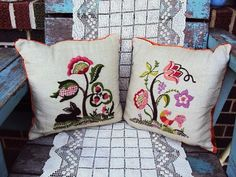 Vintage Crewel Embroidery Pillows Linen by primitivepincushion, $42.99