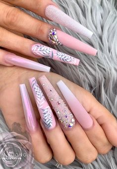 54 Awesome Acrylic Coffin Nails Design Ideas For Fall - Summer Acrylic Nails Bling Acrylic Nails, Summer Acrylic Nails, Best Acrylic Nails, Glue On Nails, Acrylic Nail Designs, Nail Art Designs, Nail Swag, Nagel Bling, Coffin Nails Designs Summer