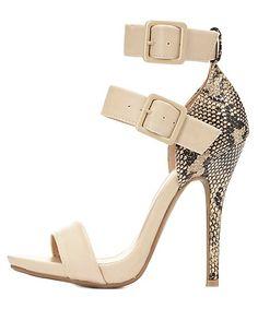 e3c1f7703741 Python Single Sole Ankle Strap Heels  charlotterusse  charlottelook