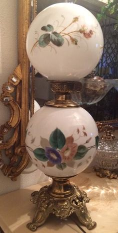 Antique Gone With The Wind Parlor Plume & Atwood Harvard Oil Lamp Electrified