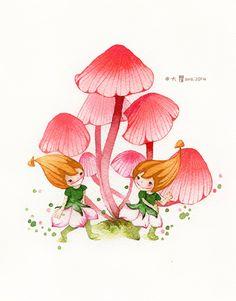 大瞿ava 蘑菇头原创插画