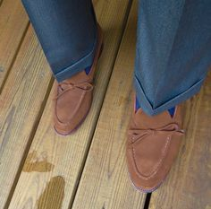 J. Press Linen trousers with Meermin Suede bow loafers.