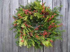 "20"" Cardinal Lime Wreath - Fresh, Natural, Christmas With a Twist. , via Etsy."