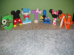 Disney Character Letter Art. I want this done with my boys.