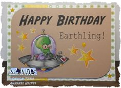 """Card using """"Saucer Head"""" digistamp by Dr .Digi's House of Stamps. Made by Annabel from @Cartway Cards part of the Design Team. Coloured with polychromo pencils."""