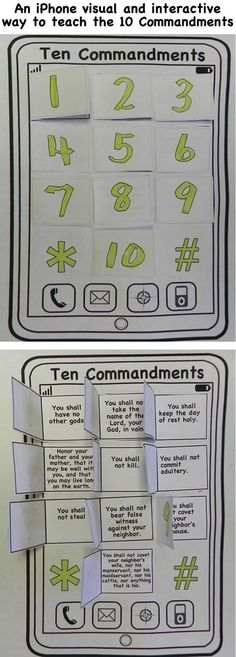 An iphone visual and interactive way to teach the 10 commandments. This craft will help you prepare your Sunday school lesson on Exodus – on the Bible story of the Ten Commandments. Sunday School Projects, Sunday School Activities, Bible Activities, Sunday School Stories, Kids Sunday School Lessons, Sunday School Classroom, Bible Games, School Staff, Bible Study For Kids