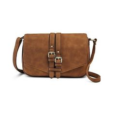 Women's Crosbody Handbag with Veritcal Buckles - Brown ($30) ❤ liked on Polyvore featuring bags, handbags, shoulder bags, bags/purses, brown, crossbody purse, brown shoulder bag, vertical shoulder bag, buckle handbags and brown handbags