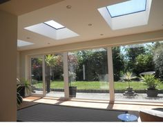 Structurally bonded fixed rooflight for flat roof applications. Flush glass roof light design with prices from Contemporary aluminium skylight. Bungalow Extensions, Garden Room Extensions, House Extensions, House Extension Design, Glass Extension, Flat Roof Design, Rear Extension, Extension Ideas, Flat Roof Skylights