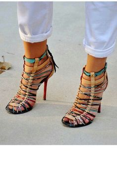 Multi colored strapy sandal