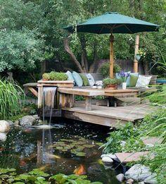 100 Bilder zur Gartengestaltung – die Kunst die Natur zu modellieren - traumgarten laube kissen teich schirm
