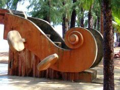 Giant violin scroll sculpture