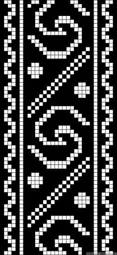 Folk art border chart for cross stitch, knitting, knotting, beading, weaving, pixel art, and other crafting projects.