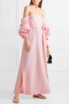 Lisa Marie Fernandez - Rosie Off-the-shoulder Linen Maxi Dress - Baby pink -