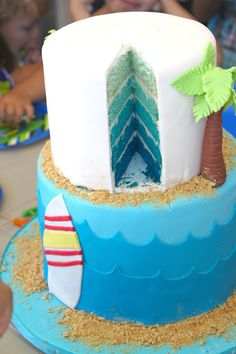 The Little Epicurean   Surf and Sand Birthday Cake. Ombre blue cake