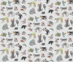 Strange Beasts on Grey fabric by benconservato on Spoonflower - custom fabric