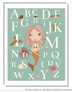 Alphabet Art Print, Mint Green Nursery Art, Baby Wall Decor, Mermaid Art, ABC Art, Typographic Print, Under The Sea Poster, Little Girl Room by thedreamygiraffe on Etsy