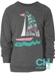 If You Ever Find Yourself Stuck in the Middle of the Sea, I'll Sail the World to Find You // College Hill Custom Threads sorority and fraternity greek apparel and products! | @ch_threads | #sailboat #sorority #shirtdesign