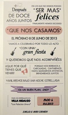 Originales invitaciones de boda --->Proyecto Cenicienta: La Boda de E&M: las invitaciones.                                                                                                                                                                                 Más