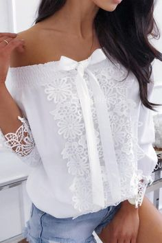 shirring shoulder crochet blouses dresses blouse detail dress shoes lace off Shirring Off Shoulder Crochet Lace Detail Blouse You can find Blouses and more on our website Womens Fashion Online, Shirt Blouses, Bow Shirts, Lace Blouses, Printed Blouse, Crochet Lace, Playsuit, Lace Detail, African Fashion