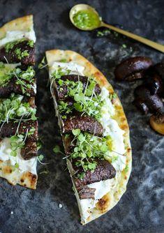 roasted mushroom & ricotta naan