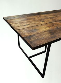 INDUSTRIAL STYLE T-BAR DINING TABLE  - Hand Made in UK by 101 Furniture - Reclaimed Timber - Heavy Duty Steel Frame - Built To Last  Size: 185cm (L)