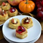 Baked Brie Bites – 3 Ways  -  puffed pastry/phyllo dough cups, fruit, cheese, nuts, holidays, xmas, christmas.  sweet dessert, snack, app.  want.     lj