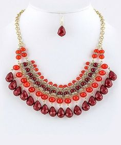 Red Resin Zillion Drops Tribal Statement Necklace Set