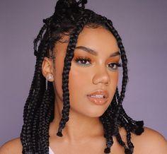 Image in Braids Short Box Braids Hairstyles, Braided Hairstyles For Black Women, African Braids Hairstyles, Baddie Hairstyles, Natural Hair Braids, Curly Hair Tips, Braids For Black Hair, Curly Hair Styles, Natural Hair Styles