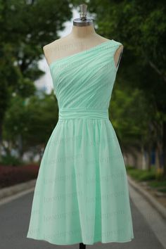 Mint bridesmaid dressone shoulder mint party by loveinprom on Etsy