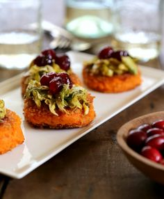 sweet potato bites with brussel sprouts & cranberry gastrique two www.climbinggriermountain.com