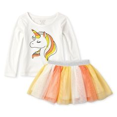 Shop for The Children's Place Baby And Toddler Girls Halloween Long Sleeve Unicorn Top And Glitter Woven Tutu Skirt Set. Check out our great selection of kids clothes, baby clothes & more at the PLACE where big fashion meets little prices! Winter Outfits For Girls, Little Girl Outfits, Toddler Girl Outfits, Baby Girl Dresses, Baby Girls, Toddler Halloween Outfits, Toddler Girl Fall, Newborn Outfits, Children's Place