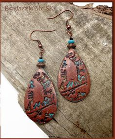 Paris Metal Patina Dangle Earrings- Faux Leather Earrings- Paris Graffiti earrings- Polymer clay