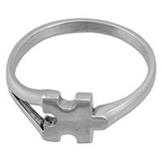 Sterling Silver Puzzle Piece Autism Awareness Ring Size 5