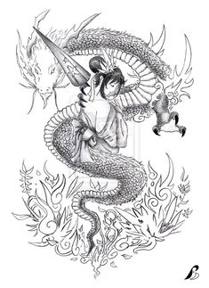 geisha n dragon tattoo by Balduf on DeviantArt