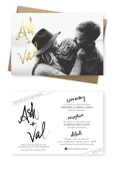 Wedding Invitations Sydney Faux Gold Foiling Photo Wedding ceremony Invites Hannah Faye Images For your Love of Stationery Traditional Wedding Invitations, Country Wedding Invitations, Printable Wedding Invitations, Wedding Invitation Wording, Photo Invitations, Online Wedding Invitation, Invite, Anniversary Invitations, Engagement Party Invitations