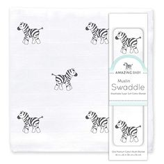 Amazon.com : Amazing Baby Muslin Swaddle Blanket, Premium Cotton, Zebra, Black : Baby Muslin Blankets, Muslin Swaddle Blanket, Baby Blankets, Baby Language, Black Crib, Thing 1, Second Baby, First Time Moms, Tummy Time
