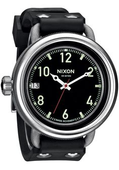 Nixon October Silver Black watch is now available on Watches.com. Free  Worldwide Shipping 8a459b4896e1