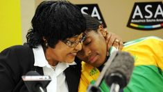 Winnie Mandela and Caster Semenya talk to press during the Team SA Press Conference at the Holiday Inn on August 2009 in Johannesburg, South Africa Caster Semenya, Winnie Mandela, 800m, August 25, South Africa, Conference, Holiday, Sports, Pictures
