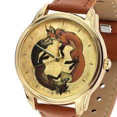 Fox Dial Watches Women's Leather Brown Quartz Ladies Wrist Watch Unisex