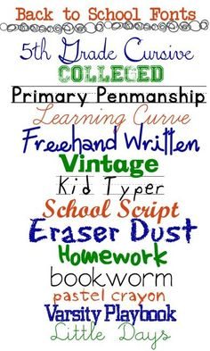 Back to School Fonts for Your Printables & Graphics A Grande Life - Fonts - Ideas of Fonts - 14 Free Fonts for Back to School Cursive Fonts, Handwriting Fonts, Calligraphy Fonts, Typography Fonts, Typography Design, Calligraphy Alphabet, Islamic Calligraphy, Cute Fonts, Fancy Fonts