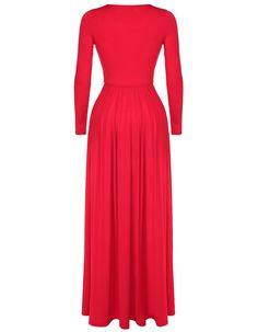 Long Sleeve O-Neck Solid Maxi Dress