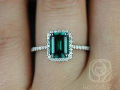 Emerald Jewelry Esmeralda White Gold Rectangle Emerald and Diamond Halo Engagement Ring (Other Center Stone Available Upon Halo Diamond Engagement Ring, Diamond Rings, Emerald Diamond, Emerald Cut, Oval Engagement, Green Diamond, Diamond Art, Uncut Diamond, Vintage Diamond