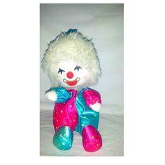 Vintage Musical Clown Plushie,Stars,Animatronic,Clown Plushie, Vintage Clown, Musical Movement Clown,Clown Doll,Clown Plush,Pink,Turquoise by JunkYardBlonde on Etsy