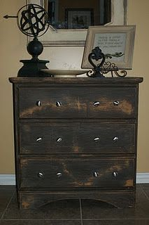 Particle board dresser redo.  Yes, particle board!  Amazing paint!