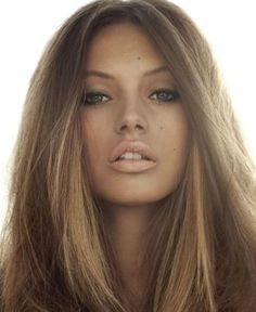 Stunning, brunette- soft, dark blonde shimmery highlights on brown hair