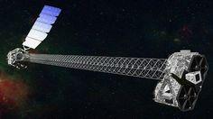 Concepção artística do NuSTAR em órbita. O telescópio tem um mastro de 10 metros que será erguido depois do lançamento para separar o módulo ótico (à direita) dos detectores (esquerda)